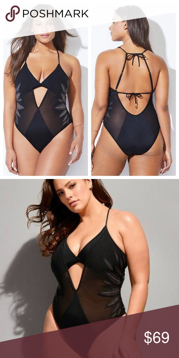 5a4991967a8 ASHLEY GRAHAM X SWIMSUITS FOR ALL RITZY SWIMSUIT Attached triangle top with  removable foam cups Adjustable straps Self-tie straps at neck and back Gold  ...