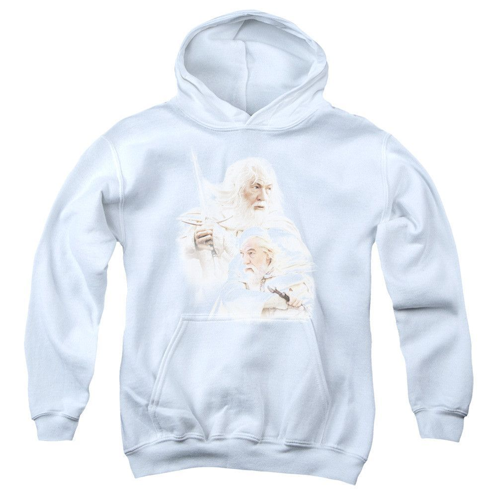 LOR/GANDALF THE WHITE-YOUTH PULL-OVER HOODIE - WHITE -