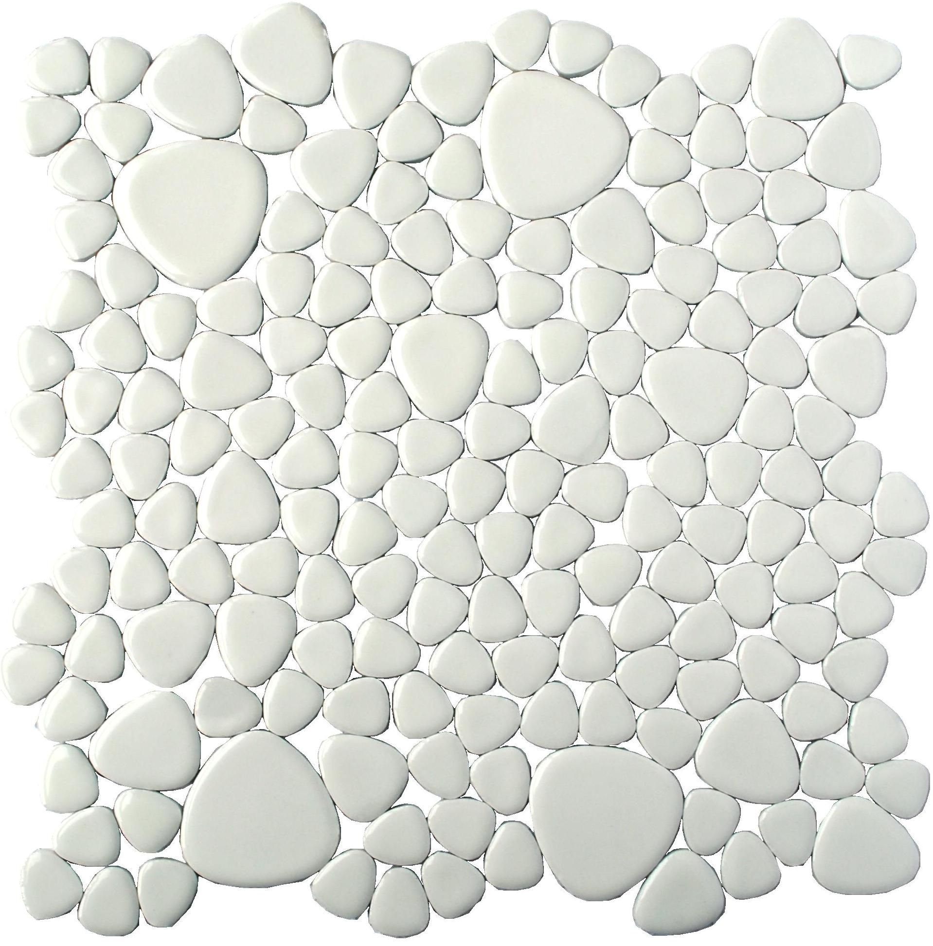 Porcelain arctic white pebble tile for wall in the bathroom new create porcelain arctic white pebble tile firing ceramic pebble shaped pieces various sizes porcelain pieces adhered durable mesh backing make these mosaic doublecrazyfo Gallery