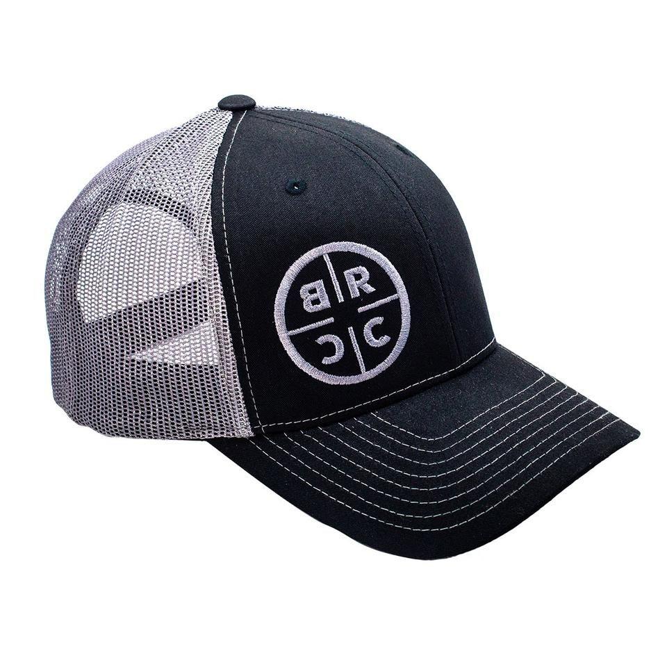 cc5d40158c63d BRCC Circle Logo Trucker Hat - Black w Grey Mesh