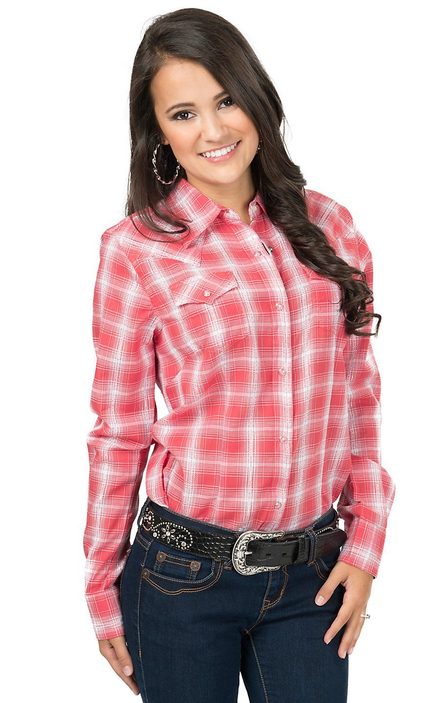9ace28619 Wrangler Women's Coral & White Plaid Long Sleeve Western Shirt | Cavender's