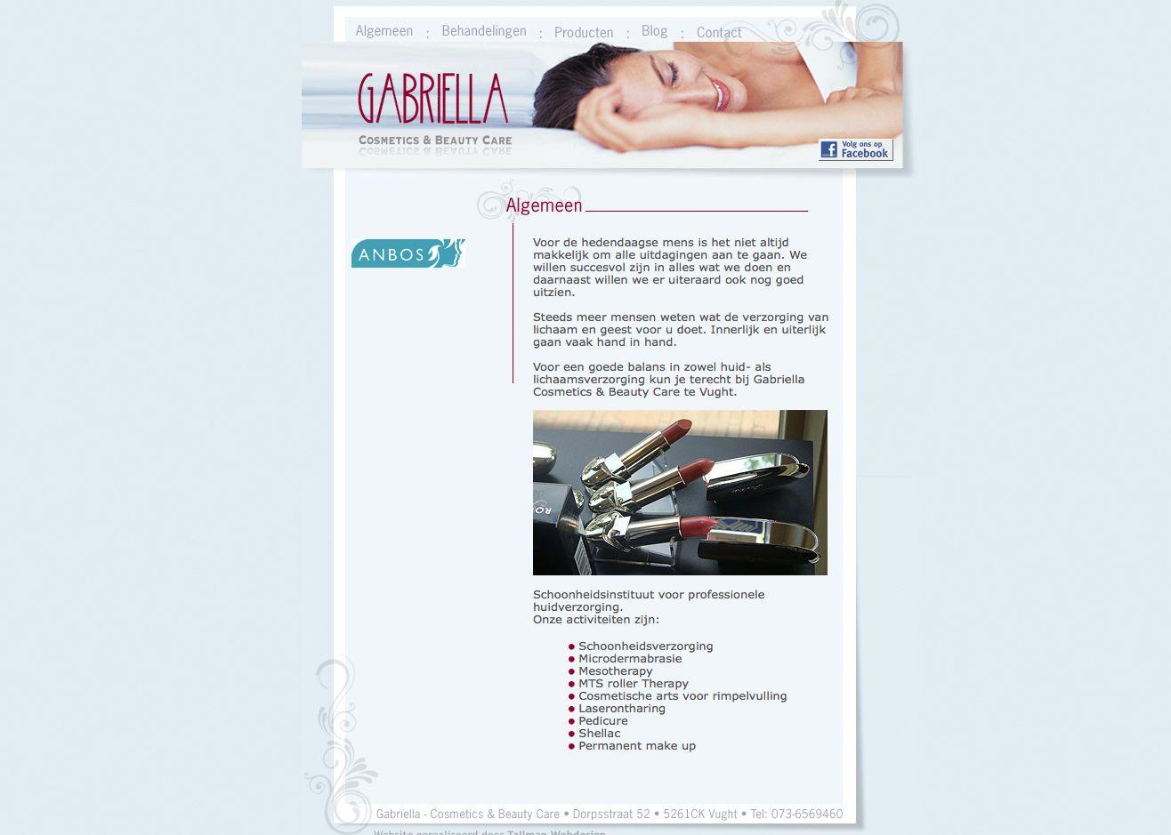 Website voor Gabriella Cosmetics & Beauty Care.  http://www.gabriellacosmetics.nl