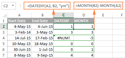 Excel DATEDIF - calculate difference between two dates in days, weeks,  months or years | Excel, Dating, Months