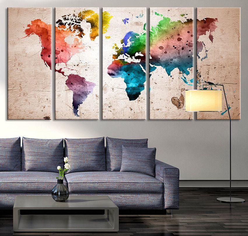 Oversized Canvas Art Prints - World Map Canvas Art Print, Large Wall ...