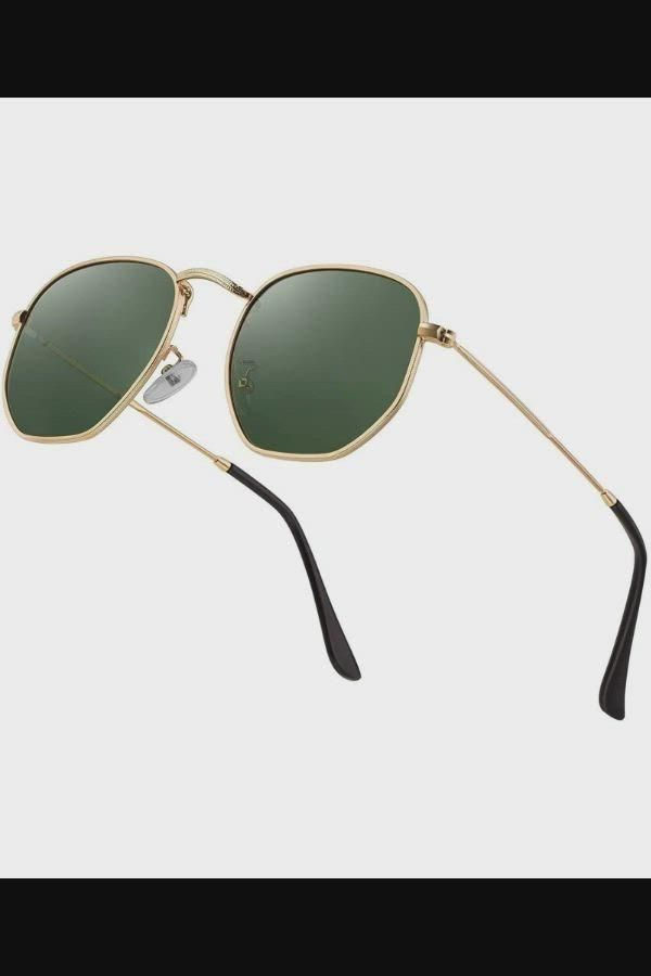 Hipster Hexagonal Polarized Sunglasses Men Women Geometric Square Small Vintage Metal Frame Retro…