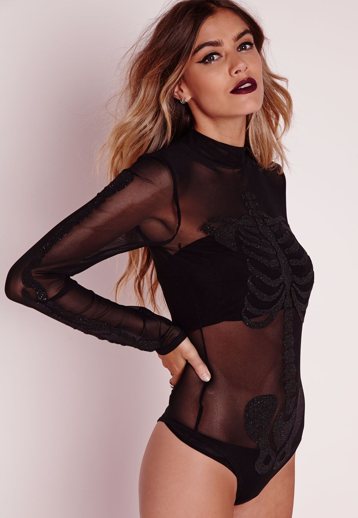 c934cedf29 Missguided - Beaded Skeleton Mesh Bodysuit Black Pinterest  laurenNicole619