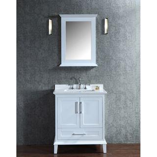 Photo Image Nantucket inch White Free standing Single sink Bathroom Vanity and Mirror Set