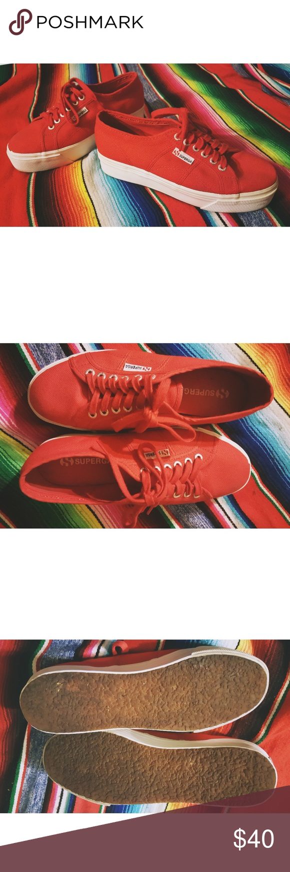 a4091dc90299 Superga red platform shoes Super cute red Superga platform tennis shoes! Only  worn once! Superga Shoes