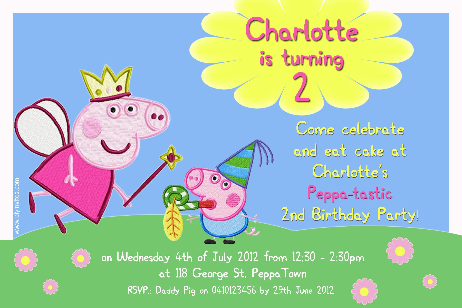 Peppa Pig Bday Invites Personalized
