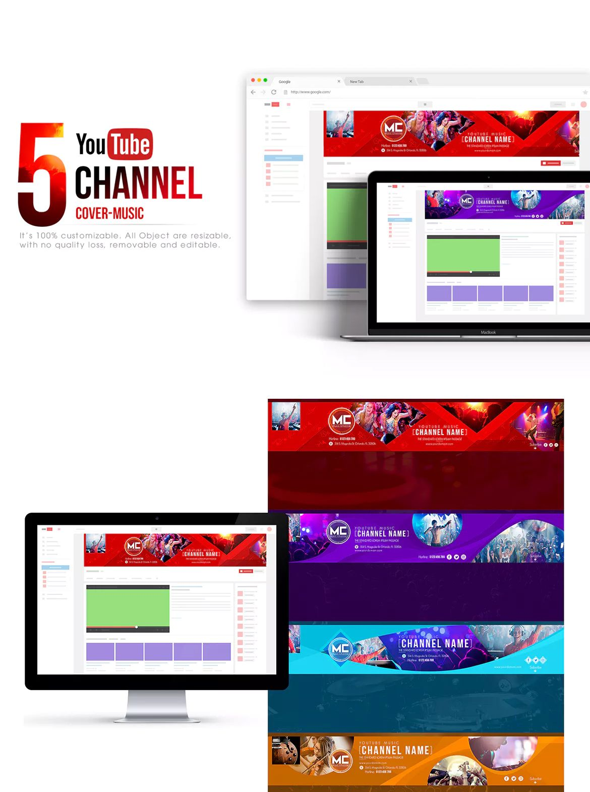 Music Channel - Youtube Banner Template PSD | Youtube Banner ...