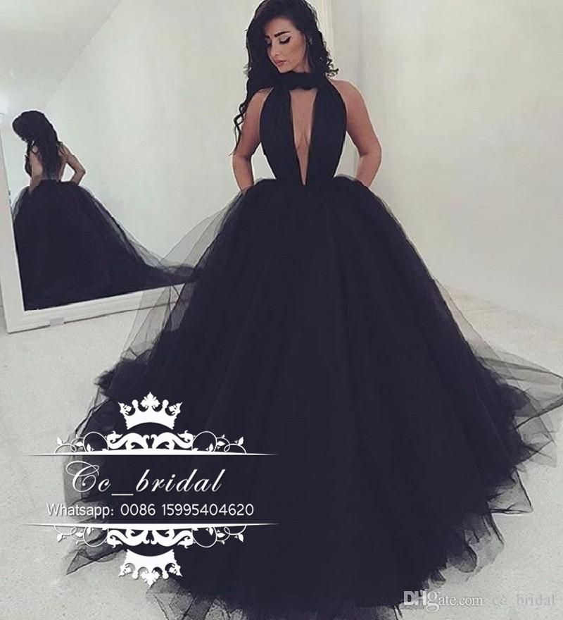 0b4b0a24217 Sexy Halter Backless Black Prom Dresses 2017 New Long Formal Dress Evening  Wear Puffy Tulle Women Cocktail Party Gowns Custom Made Prom Dresses 2017  ...