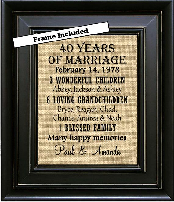 40th Wedding Anniversary Quotes: For Sale Is An 8 X 10 40th Anniversary Framed Burlap Print