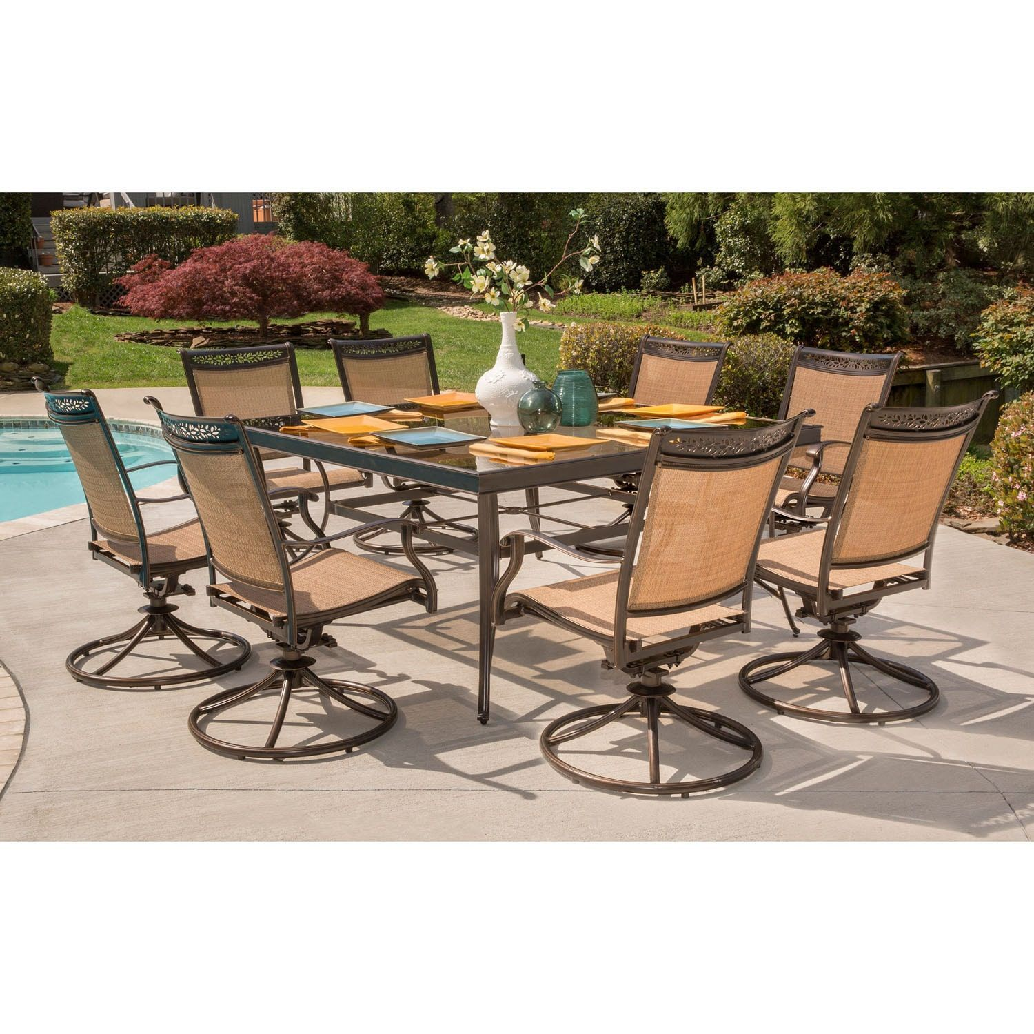 Hanover fontana 9 piece dining set with eight swivel rockers and a 60 in square dining table tan size 3 piece sets patio furniture aluminum