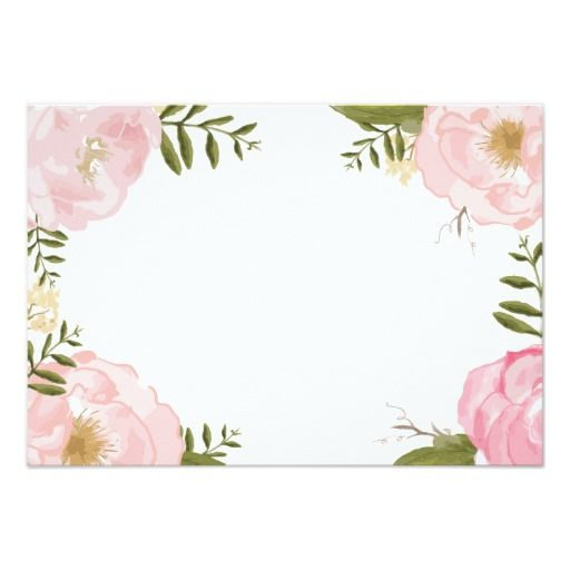 modern vintage pink floral wedding blank card wedding