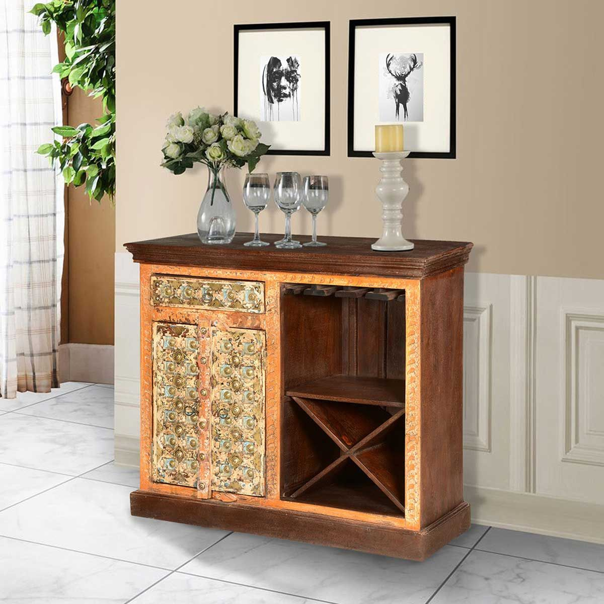 Sierra living concepts golden gothic mango wood wine rack bar cabinet bars bar stools wine racks cabinets art home from the sierra living