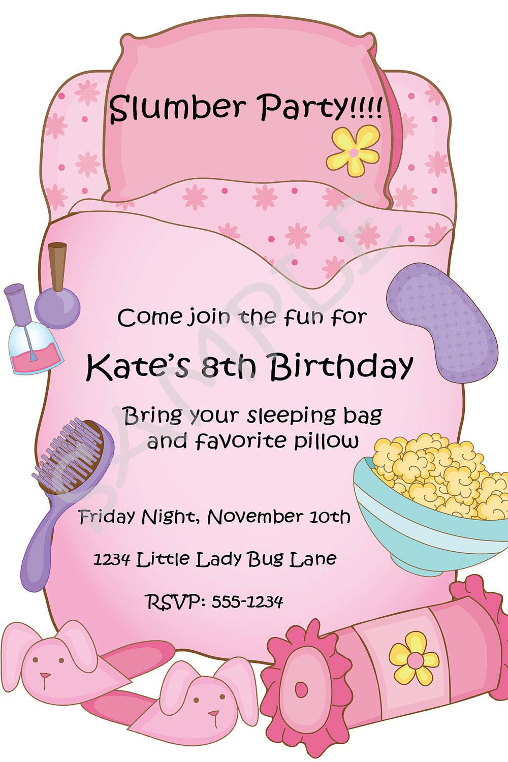 slumber party invitations free printable | etsy.comSlumber Party ...