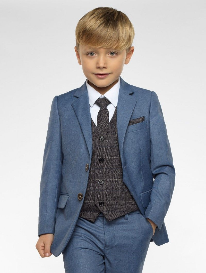 5 Piece Suit for Boys Page Boy Petrol Blue Navy Blue Wedding Prom 3-12 Year