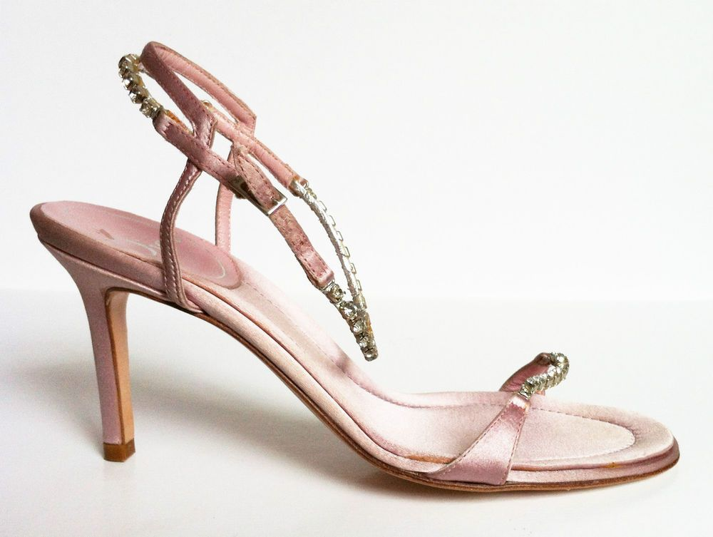 Christian Dior EU 35.5 (UK 2.5) pale pink satin diamante sandals ...