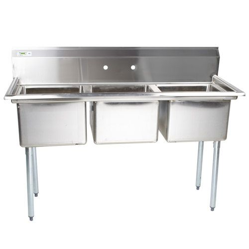 Regency 60 Inch 16 Gauge Stainless Steel Three Compartment Commercial Sink Without Drainboards 17 I Commercial Sink Sink Stainless Steel Dishwasher