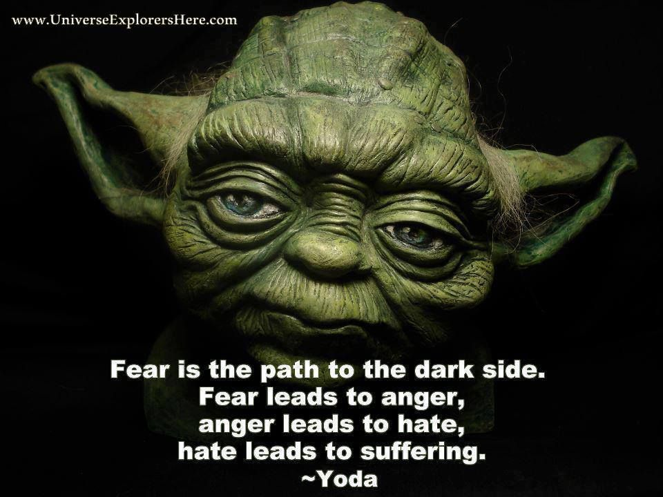 Fear Is The Path To The Dark Side Fear Leads To Anger Anger Leads