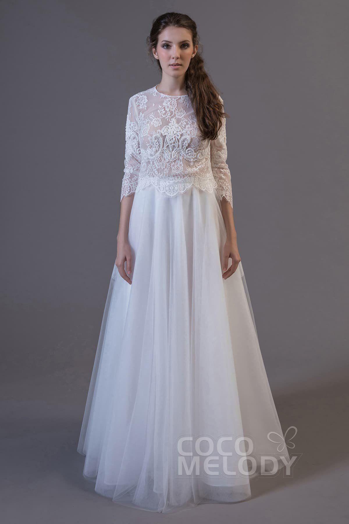 3/4 length lace wedding dress  Crop top Floor Length Tulle and Lace Wedding Dress LD  dresses