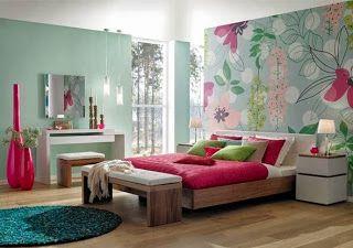 Ideas para decorar dormitorios en turquesa y fucsia.Galería de fotos ...