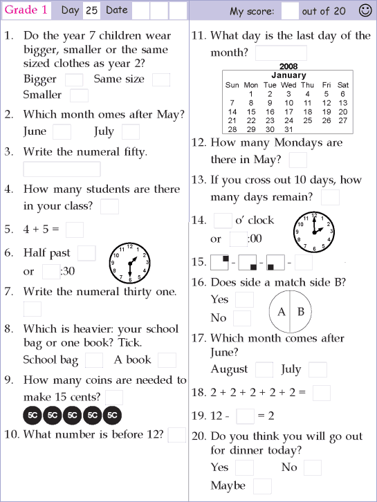 Mental Math Grade 1 Day 25 Mental Math Math Pages Math Olympiad