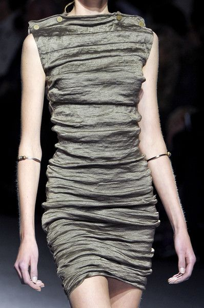 Ruched dress with crinkled fabric textures; organic fashion details // Lanvin