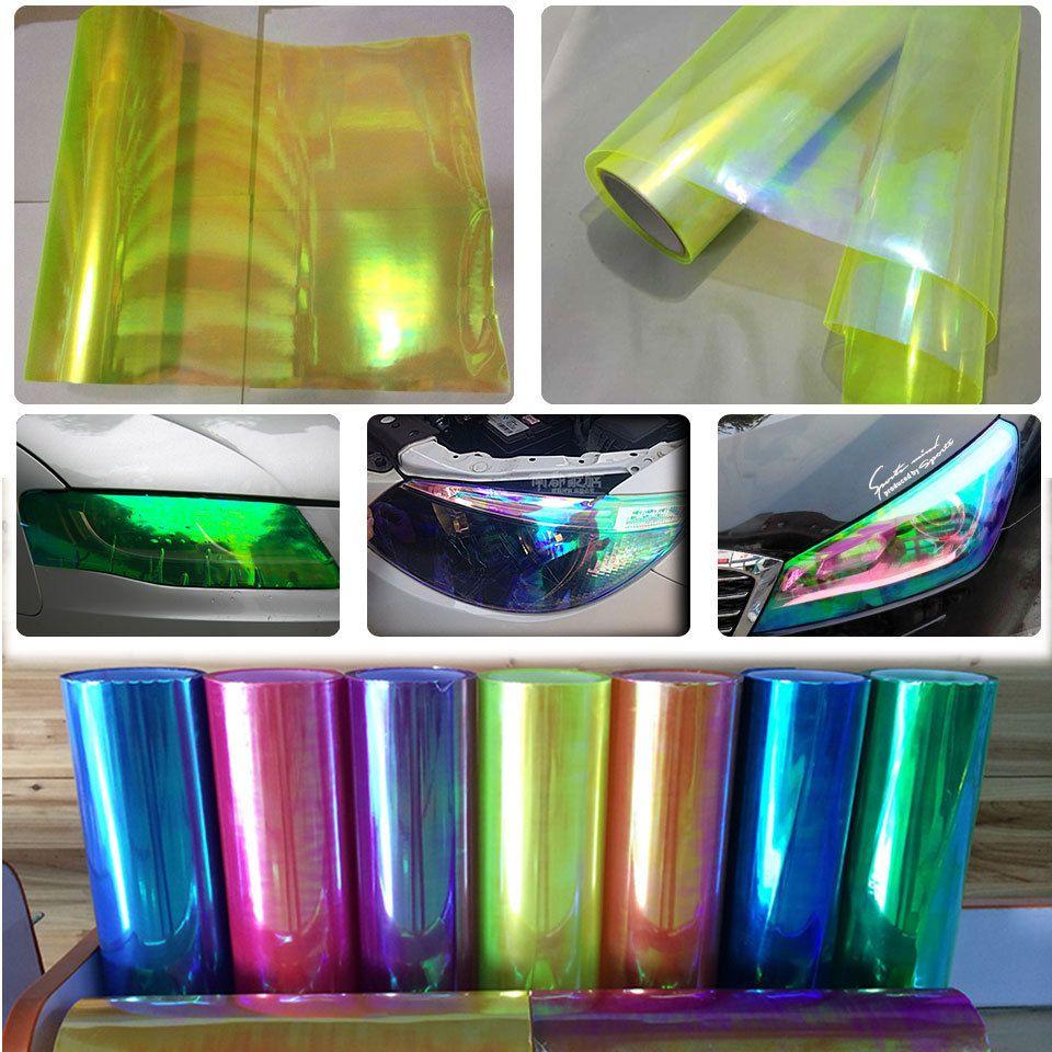 CF Glossy Car Green Chameleon Headlight Taillight Vinyl Wrap Tint Tape Sticker