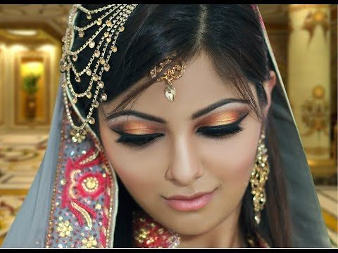 Mehndi Makeup Bridal : Gold and peach mehndi makeup tutorial indian bridal asian