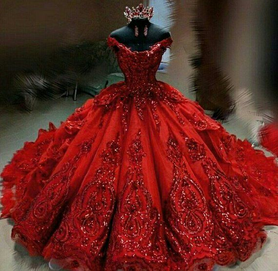 Beautiful Red And White Wedding Dress: Luxury Couture Sequinned Crystal Red Wedding Dress In 2019