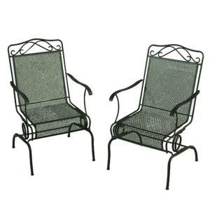 Wrought Iron Green Patio Motion Dining Chairs 2 Pack W3929 D 2