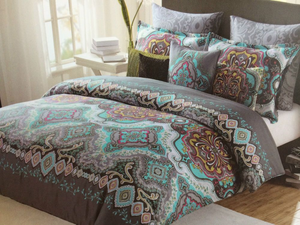 Max Studio Moroccan Medallion Teal Grey Aqua King Comforter Set 6 New Maxstudio