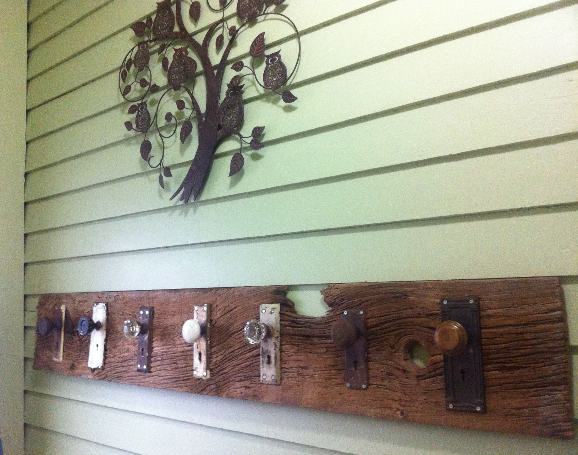 Antique door knobs on new doors - New Diy Coat Rack Old Barn Board With Antique Door Knobs Screwed Into The Board