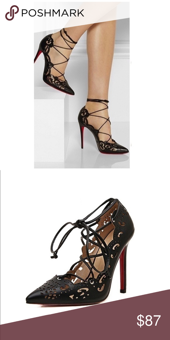 Lace up High Heels Black Shoes with Red