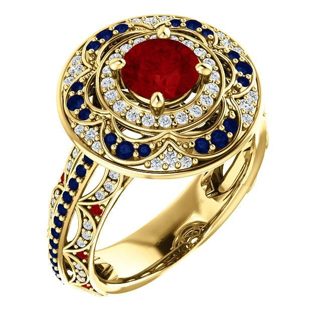 18k Gold Ruby Sapphire and Diamond Ring Vintage Style 1 5 ctw