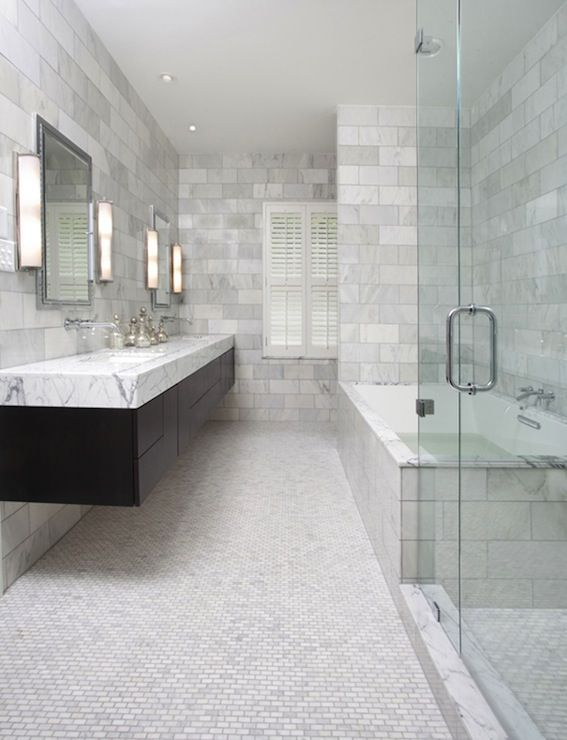 Stunning Master Bathroom With Espressos Tained Wood Floating Entrancing Contemporary Bathroom Vanity Decorating Inspiration
