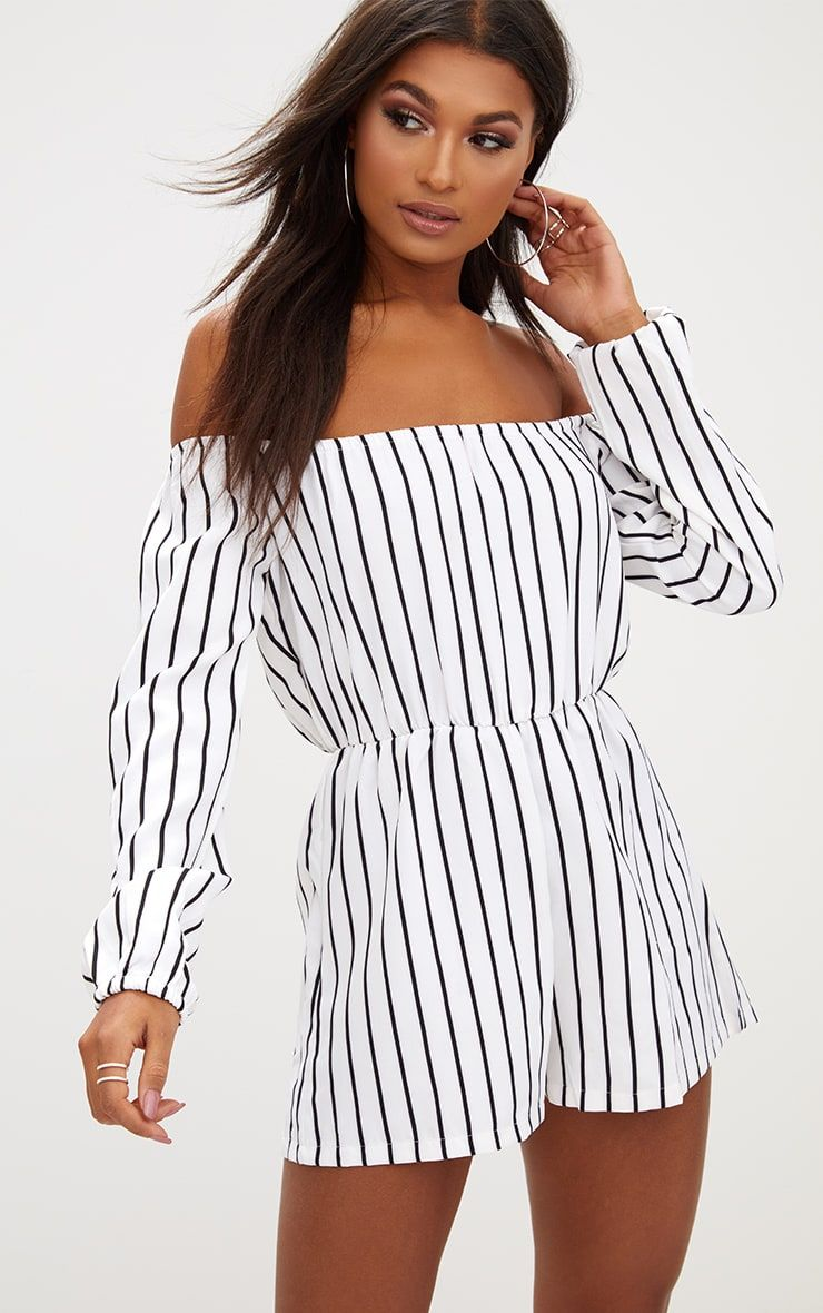 f8d1e3dd68d3 Kennie White Stripe Romper. Kennie White Stripe Romper Striped Playsuit ...