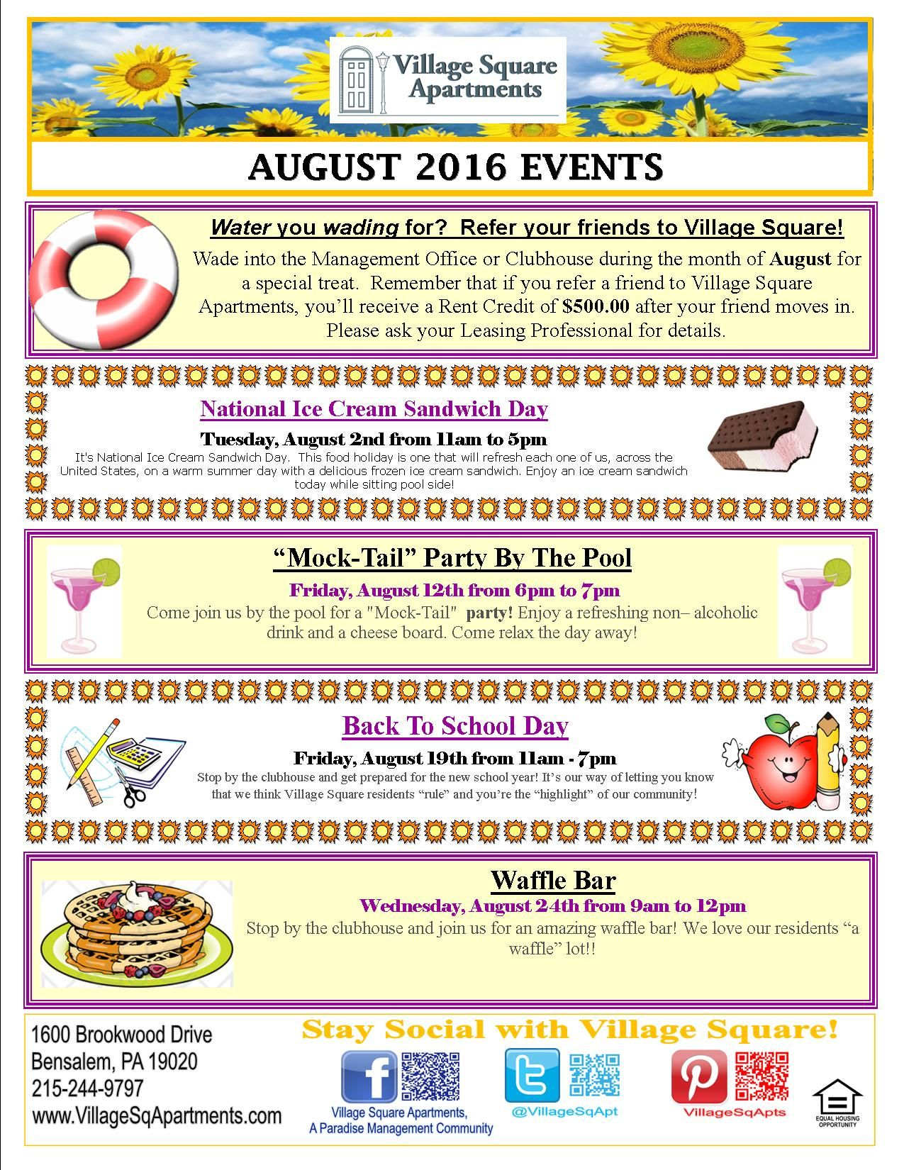 Pin by Village Square Apartments on Resident Events | Pinterest ...