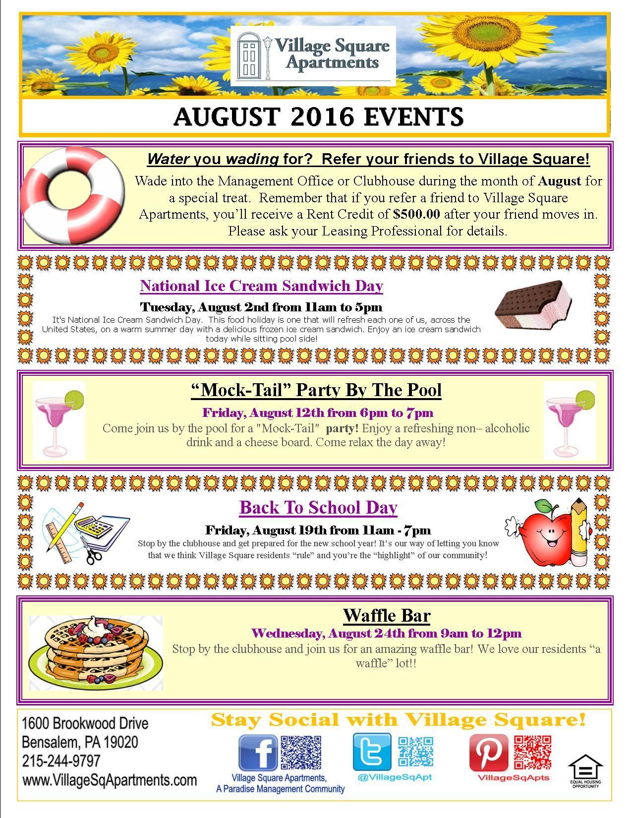 Marketing Office Arketing Ideas August Events Resident Retention