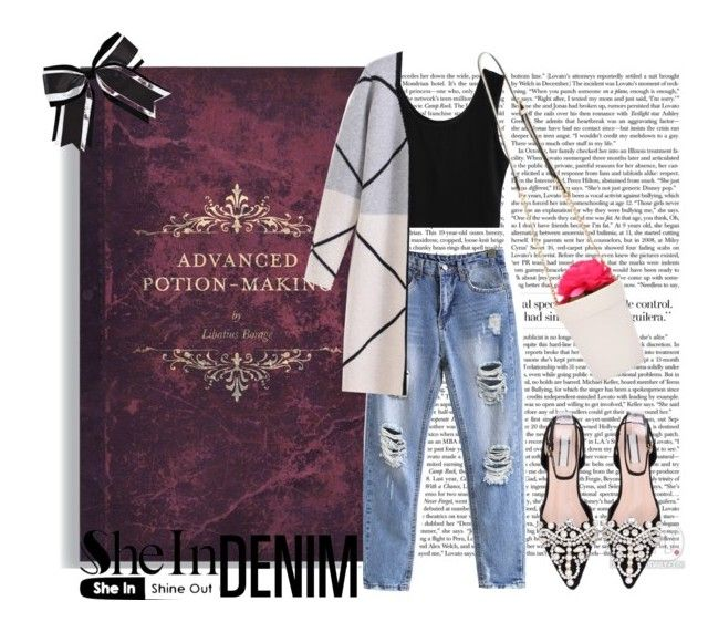"""""""blue denim shein"""" by ozgeelfaba ❤ liked on Polyvore featuring Chassè"""