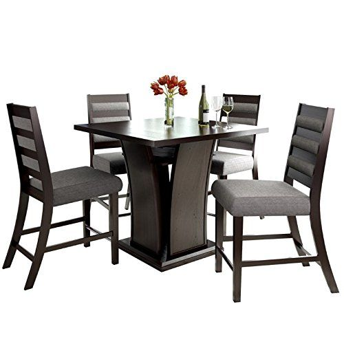 CorLiving 5 Piece Bistro Counter Height Wood Dining Set With Grey Sand  Woven Padded Seats