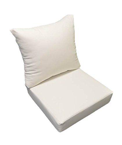 Sunbrella Canvas White Cushion Set For Indoor Outdoor Deep Seat
