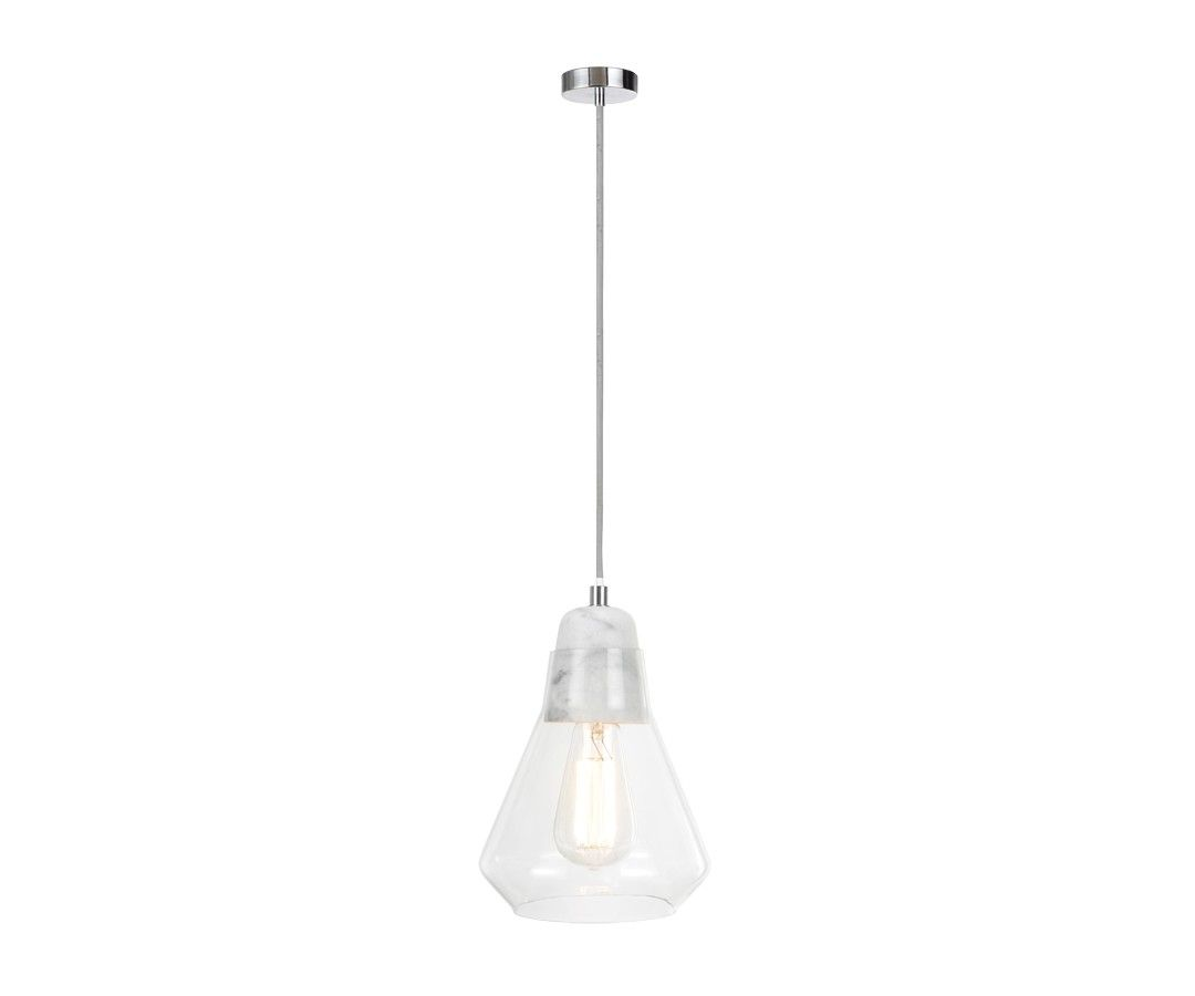Ando 1 Light Pendant In Marble/Glass