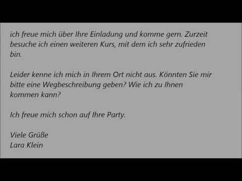 Deutsche Brief A1 A2 B1 Prüfung 31 Einladungsbrief Youtube Brief