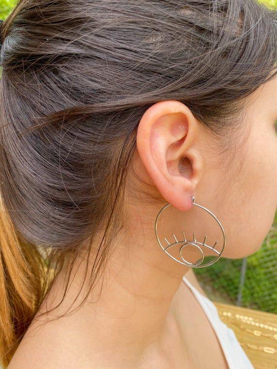 Photo of Silver Evil Eye Hoop Earring Evil Eye Silver Earrings Large Evil Eye Earrings Chic Eye Earrings Boho
