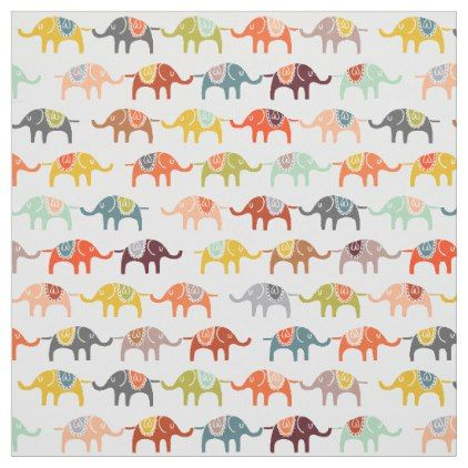 Elephants Fabric Half Size Baby Nursery