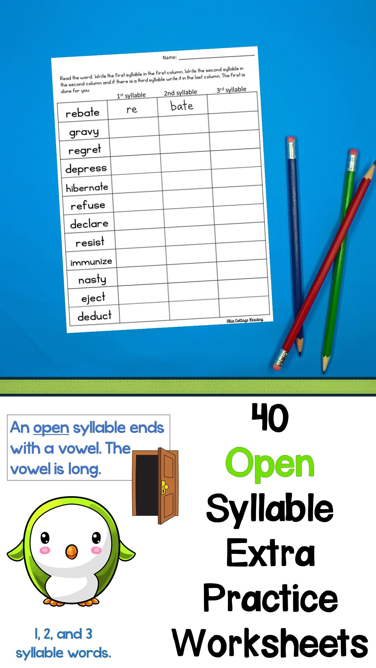 Open Syllable Supplemental Worksheet Packet
