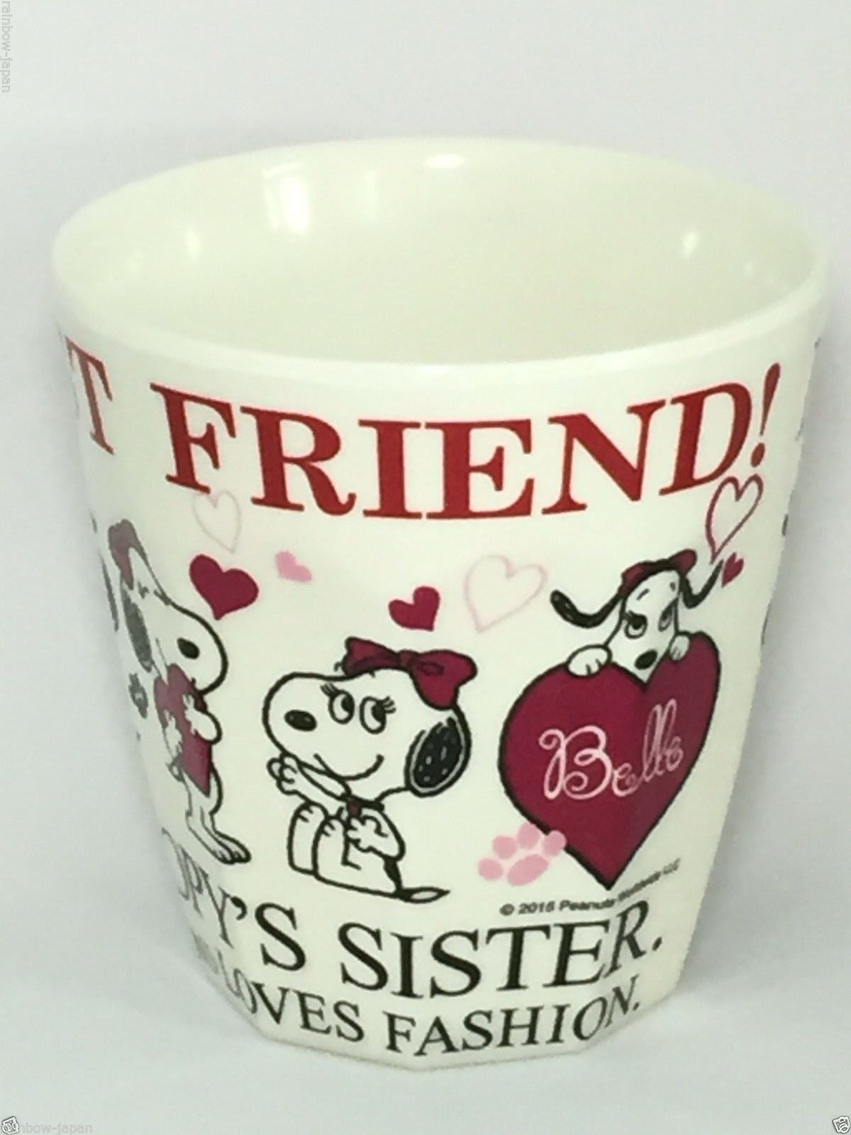 SANRIO SNOOPY Peanuts Melamine Cup Heart Belle Glass For Lunch Bento Box Japan