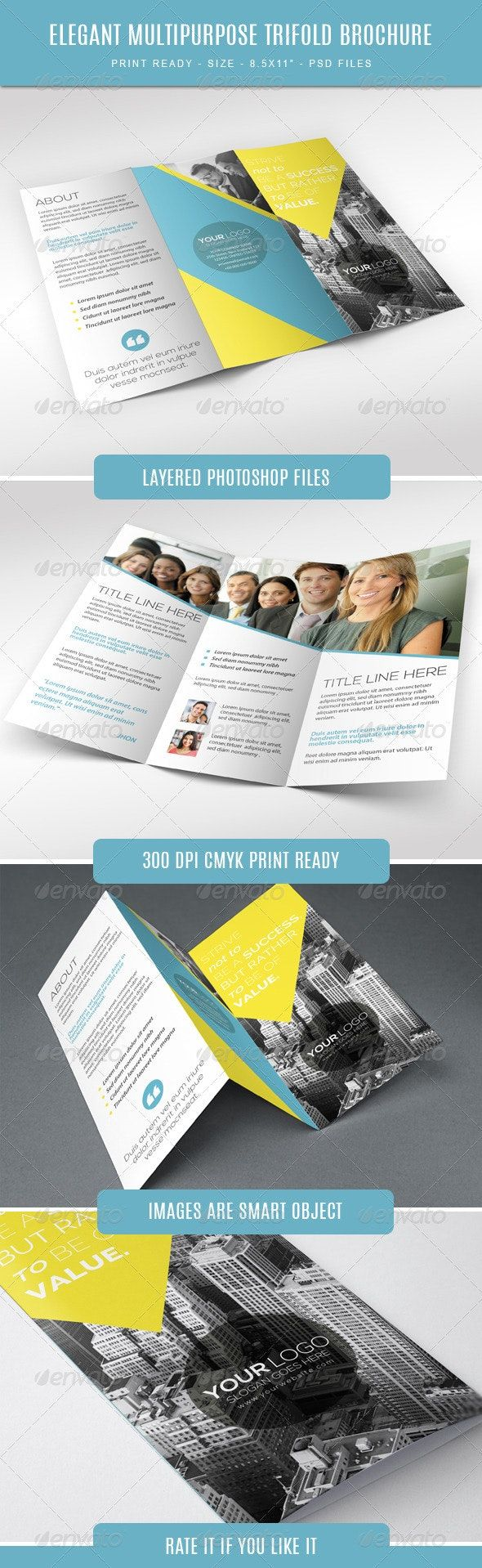Elegant Multipurpose Trifold Brochure Corporate Brochure